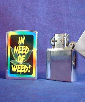Classic Lighter with Cannabis Leaf / in need of weed
